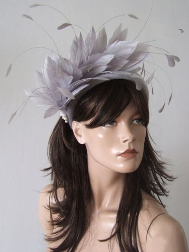 "Silver Light Thick Padded Velvet Wide Feather Embellished Headband - Winter Wedding Guest ""Joss"""